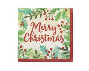 Merry Christmas Holly 16-Count Beverage Napkins