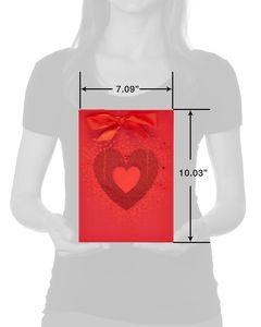 Small Red Glitter Heart Gift Bag