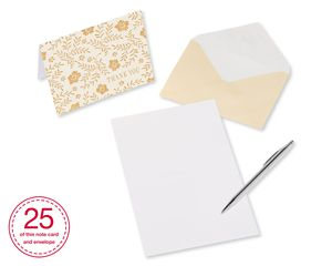 Gold and Cream Thank-You Cards and Cream Envelopes, 50-Count