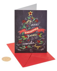 Chalkboard Christmas Tree Holiday Boxed Cards, 14-Count