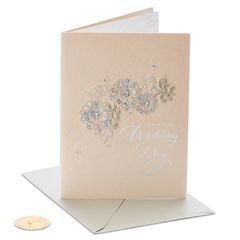 Floral Applique Wedding Greeting Card