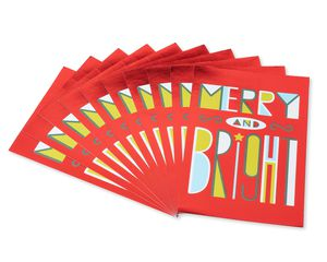 Merry and Bright Christmas Card, 10-Count
