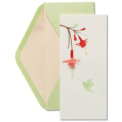 Hummingbird and Red Flowers Blank Greeting Card