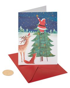 Santa Reaching for Star Holiday Boxed Cards, 14-Count