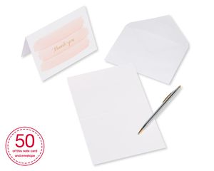 Pink Gold and Pink Brush Thank-You Cards and White Envelopes, 50-Count