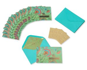 Bohemian Thank You Boxed Blank Note Cards and Envelopes, 12-Count