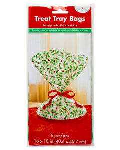 Holly Treat Tray Bags, 6-Count