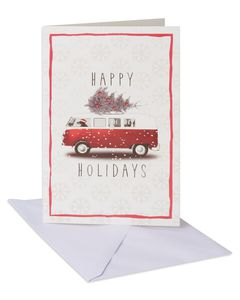 Dog Driving Bus Christmas Boxed Cards and White Envelopes, 14-Count