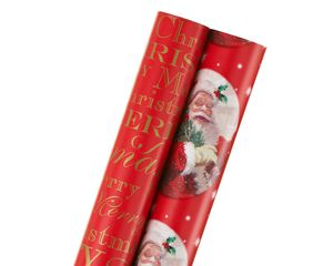 merry christmas santa, christmas 2-roll wrapping paper