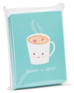 Thanks-a-Latte Thank You Blank Note Cards and White Envelopes, 20-Count