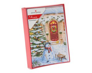 Snowman Outside Red Front Door Christmas Boxed Cards, 14 Count