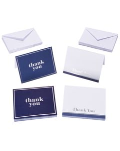 Blue and White Thank You Cards and Envelopes, 50-Count