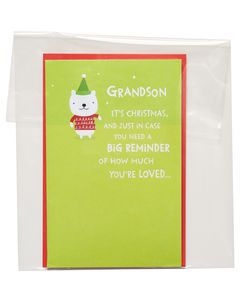 Funny Lots of Love Christmas Card for Grandson