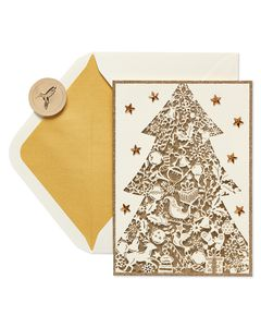 Gold Glitter Christmas Tree Holiday Boxed Cards, 8-Count