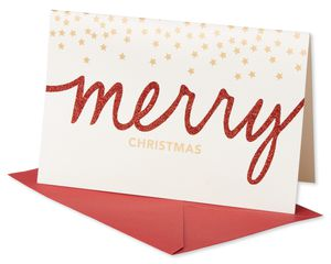 Merry Christmas with Stars Christmas Boxed Cards, 14 Count
