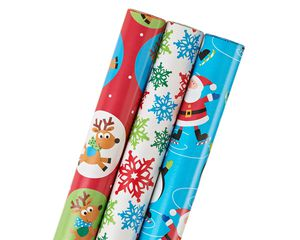santa and friends winter fun, christmas 3-roll wrapping paper