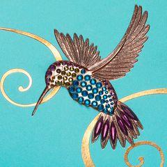 Gem Hummingbird Birthday Greeting Card