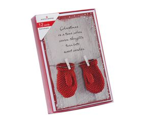 Black, White and Red Mittens Christmas Boxed Cards and White Envelopes, 12-Count