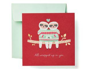 Romantic Sloths Greeting Card - Christmas, Happy Holidays, New Year, Hanukkah