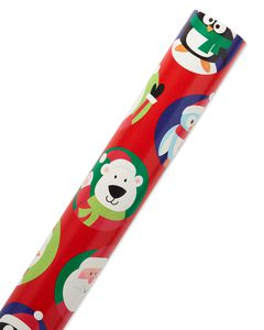 Christmas Reversible Wrapping Paper, Santa with Characters and Snowflakes Mega Roll, 30