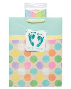 Large Tiny Toes Baby Gift Bag with Tissue Paper; 1 Gift Bag and 8 Sheets of Tissue Paper