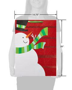 Jumbo Glitter Snowman Christmas Gift Bag