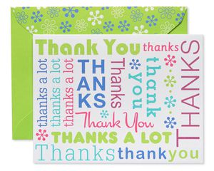 Multicolored Script Thank You Cards and Lime Green Envelopes, 50-Count