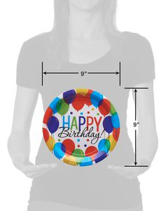 Happy Birthday Balloon Paper Dinner Plates, 60-Count