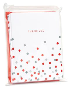 Red and Silver Thank You Blank Note Cards and Red Envelopes, 20-Count
