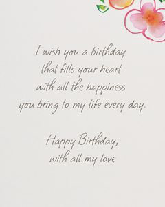 Kathy Davis Floral Birthday Card for Wife