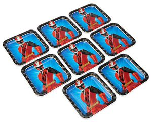 Power Rangers Ninja Steel Dinner Square Plate, 8 Count