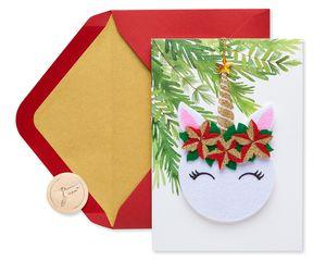 Floral Unicorn Christmas Greeting Card