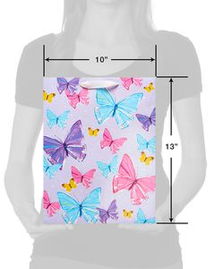 Medium Feminine Butterflies Glitter Gift Bag