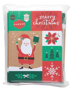 Patchwork Santa Christmas Blank Notecards, 25 Count