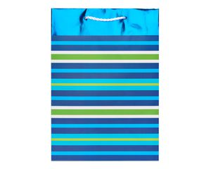 small green and blue striped gift bag