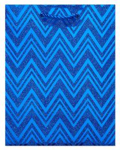 Blue Chevron Holiday Gift Bag