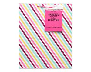 large pink stripes grab-&-go gift bag