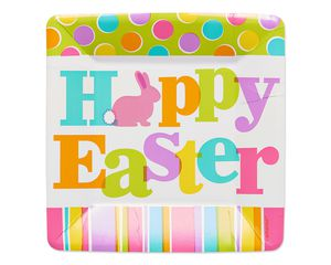 hoppy easter dessert square plate 8 ct