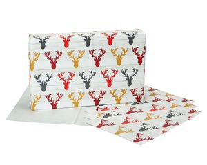 Christmas Flat Wrapping Paper Bundle, Lettering, Reindeer and Plaid, 12 Sheets, 3 Designs