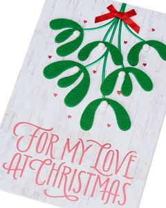 Romantic Mistletoe Christmas Card