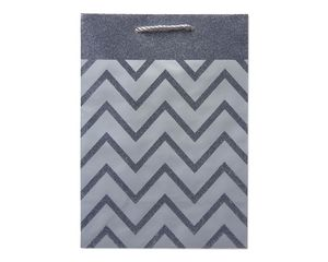 Small Silver Chevron Stripes with Glitter Gift Bag