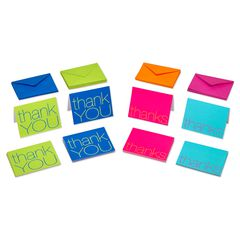 Bold Multicolored Thank You Cards and Multicolored Envelopes, 50-Count