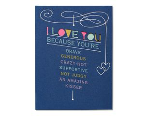 Romantic I Love You Because Birthday Card