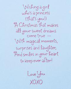 Princess Christmas Card for Granddaughter