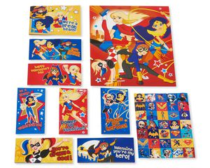 DC Super Hero Girls Valentine's Day Exchange Cards with Stickers, 32-Count