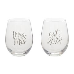 Mud Pie Mr. & Mrs. Stemless Wine Glass