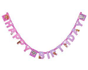 paw patrol pink birthday banner