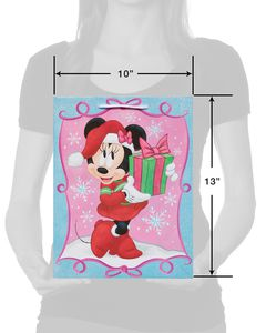 Medium Minnie Mouse with Glitter Christmas Gift Bag