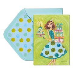 Girl in Polka Dot Dress Birthday Greeting Card