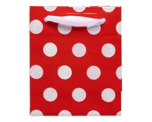 mini white polka dots christmas gift bag